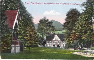 Bad Salzbrunn - Musikpavillion mit Wiesenhaus und Hochwald von 1916 (026AK)