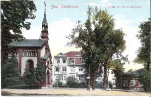 Bad Salzbrunn - Partie bei der ev. Kapelle von 1916 (027AK)