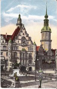 Dresden - Schloss - König Albert-Denkmal, Schlossturm von 1924 (035AK)