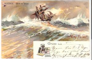 Südsee - Bark im Taifun - von 1907 (L068AK)
