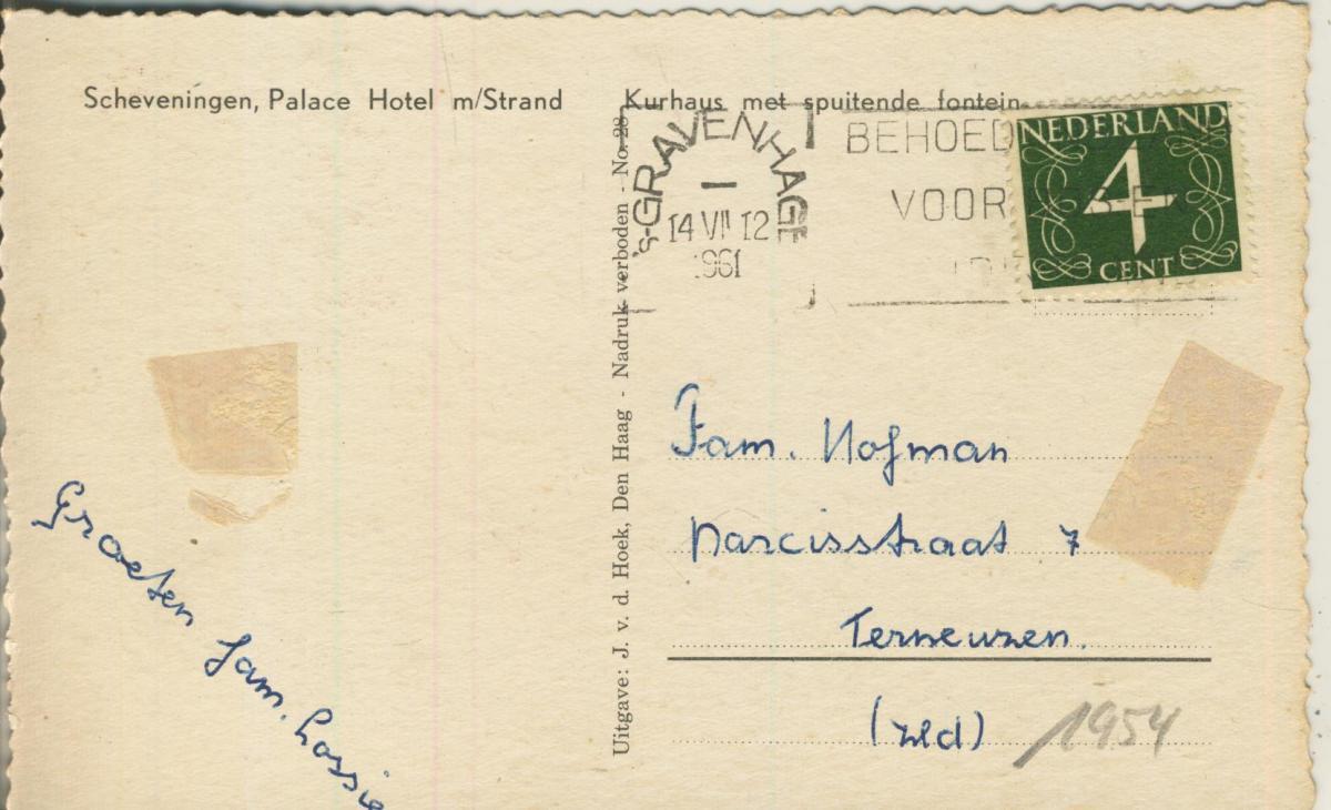 Scheveningen v. 1961 Palace Hotel met Strand (AK1954) 1