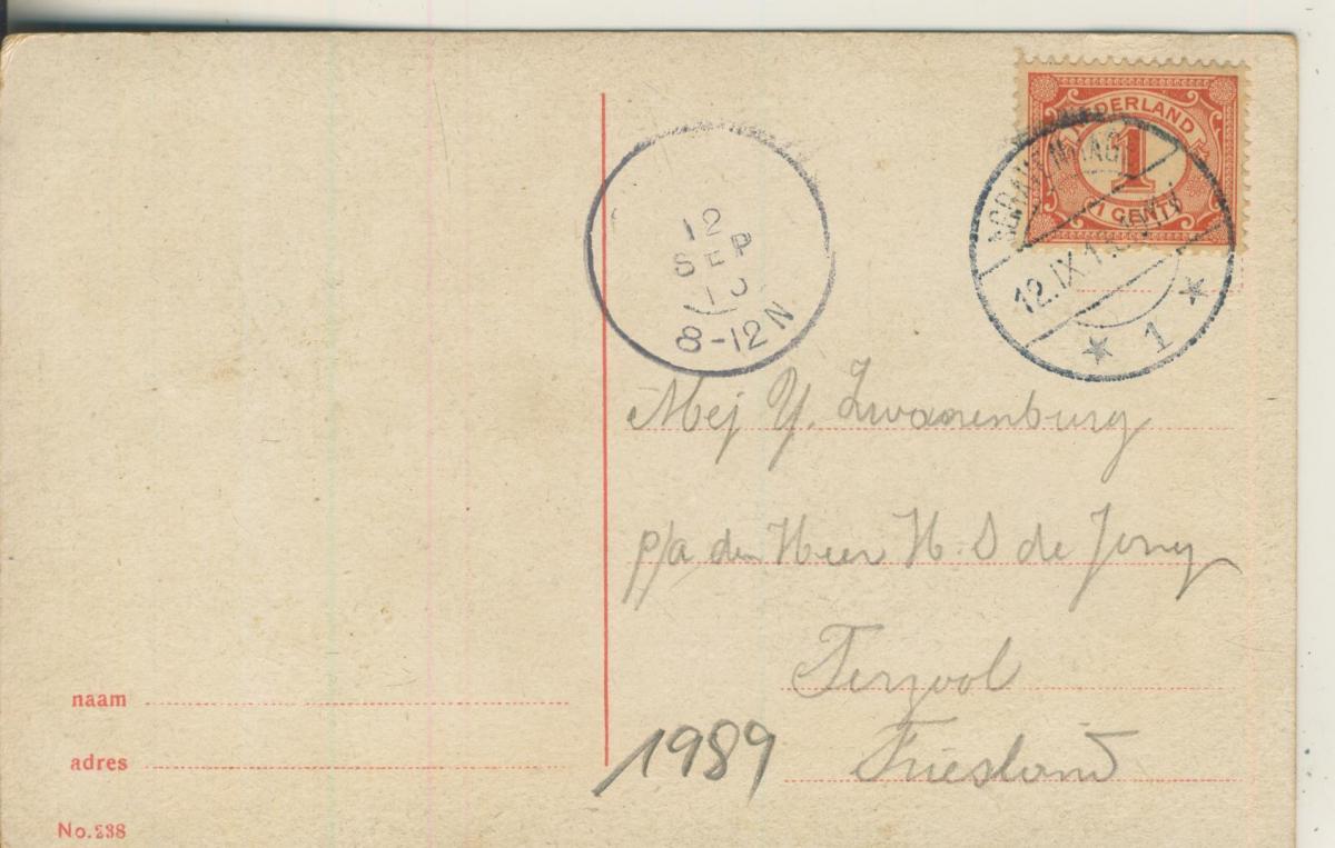 Scheveningen v. 1905 Gezicht op t Wandelhoofd (AK1989) 1