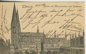 Lübeck v. 1904 Markt mit Marienkirche und Rathaus (AK1603)