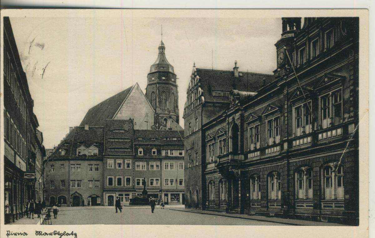 Pirna v. 1933 Marktplatz mit Geschäfte (AK1605) 0