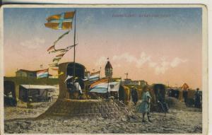 Zandvoort v. 1926 Strandgezicht mit Burg und Fahne (AK2014)