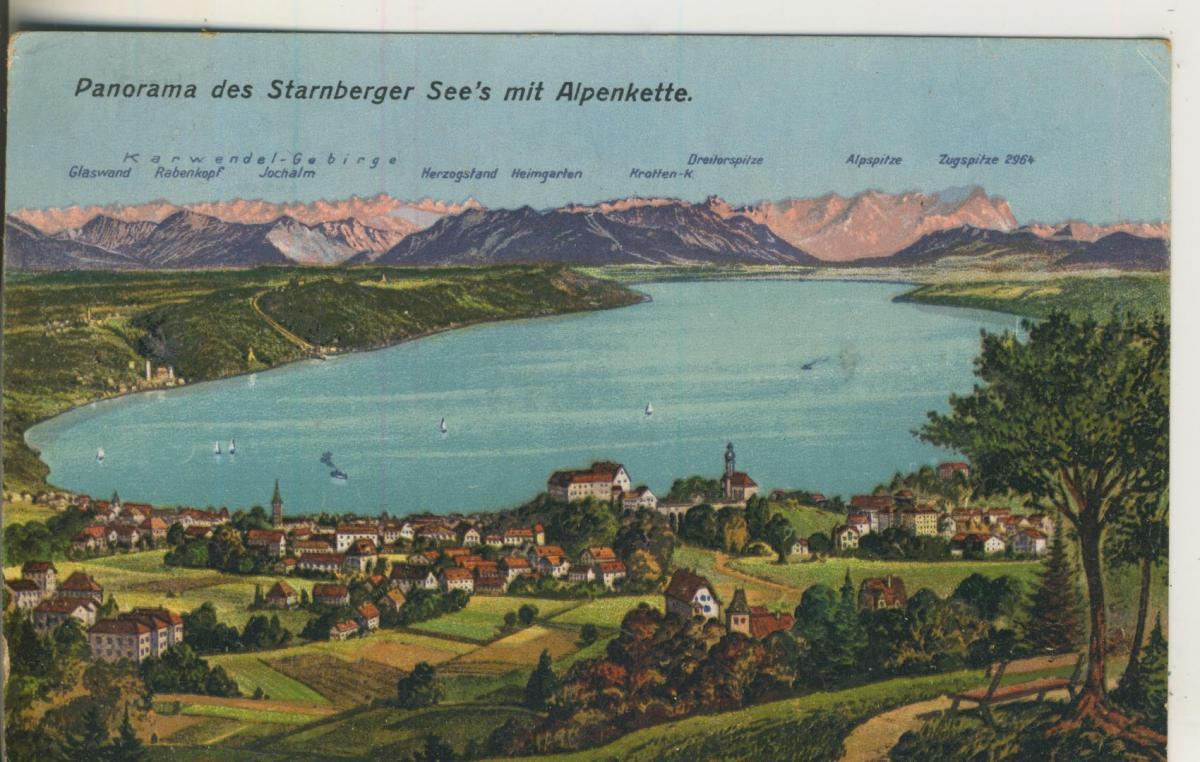 Starnberg v. 1920 Panoram der Stadt und die Alpenkette und Starnberger See (AK2173) 0