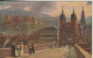 Heidelberg v. 1924 Die alte Neckerbrücke mit Schloß (AK2256)