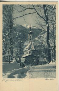 Lenggries v. 1935 Kirche im Winter (AK2265)