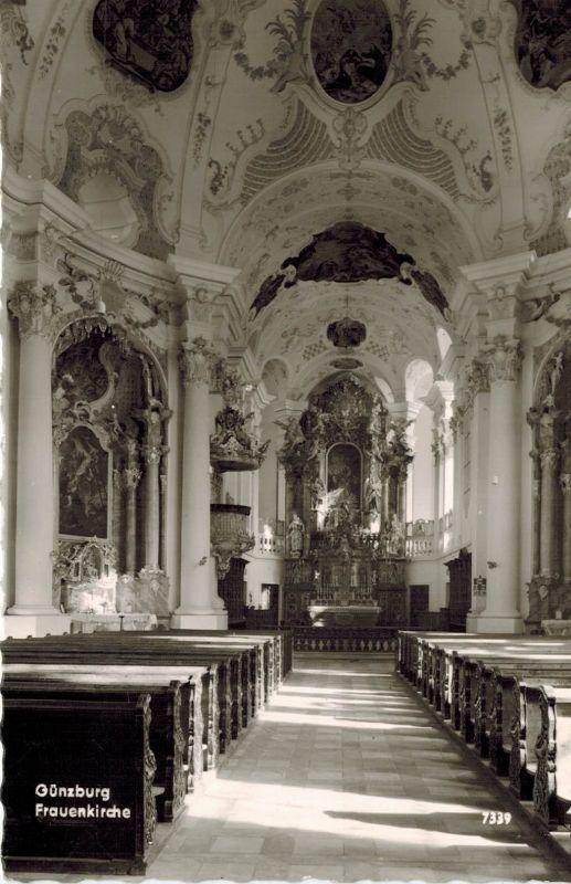 AK Günzburg, Frauenkirche, 1966 gelaufen mit Marke