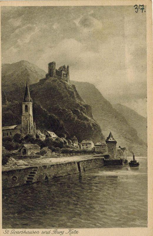 AK St. Goarshausen, Loreley, Burg Katz, Rheindampfer Undine, 1926 gelaufen mit Marke