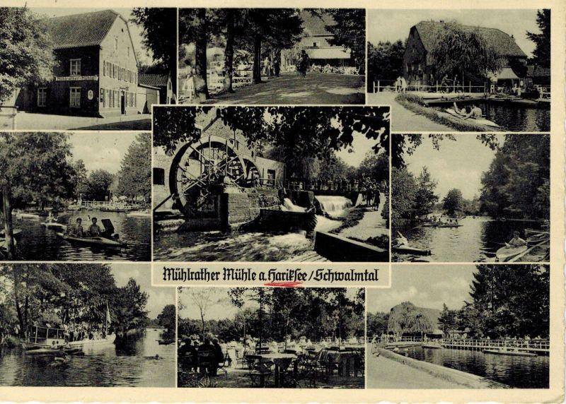 AK Schwalmtal, Hariksee, Mühlrather Mühle, Amern, 1956 gelaufen mit Marke