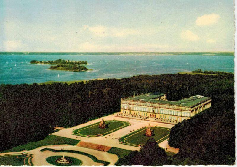 AK Herrenchiemsee, Chiemsee, Schloß, 1960er Jahre gelaufen mit Marke