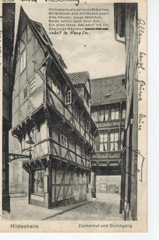 AK Hildesheim, Zuckerhut, Durchgang, Gedicht, 1928 gelaufen mit Marke+Sonderstempel