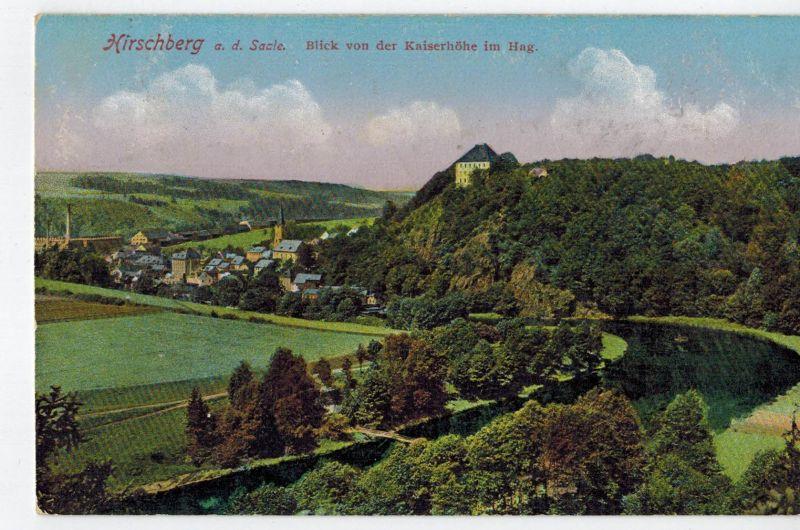 AK Hirschberg, Saale, Saale-Orla-Kreis, Ansicht, Kaiserhöhe, Hag, Schloß, 1918 gelaufen mit Marke