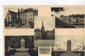 AK Racibórz, Ratibor, Oberschlesien, Ehrenmal, Grenzlandturm, Schloßbrücke, Mariensäule, Ring, 1940 gelaufen, Feldpost ohne Marke