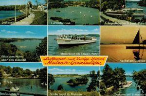 AK Malente, Bad Malente, Gremsmühlen, Ansichten, Dieksee, Promenade, Holm, Insel, Timmdorf, Motorboot, 1977 gelaufen mit Marke