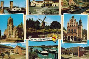 AK Meppen, Ansichten, Rathaus, Gymnasium, Schleusengruppe, Propsteikirche, Höltingmühle, 1964 gelaufen mit Sondermarke+Sonderstempel