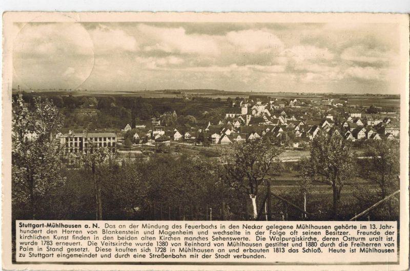 AK Stuttgart, Mühlhausen, Ansicht, Gasthaus zum Löwen, 1940 gelaufen mit Marke 0