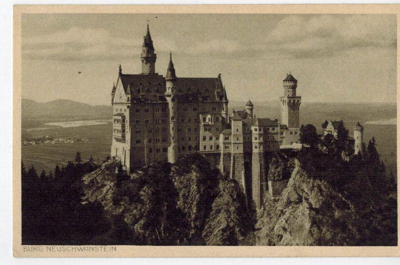 AK Schwangau, Hohenschwangau, Schloss Neuschwanstein, ca. 1930-1950er Jahre (?), ungelaufen mit Sonderstempel