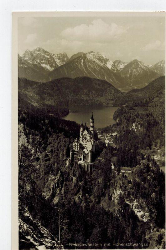 AK Schwangau, Hohenschwangau, Schloss Neuschwanstein, Hohenschwangau,1933 gelaufen mit Marke