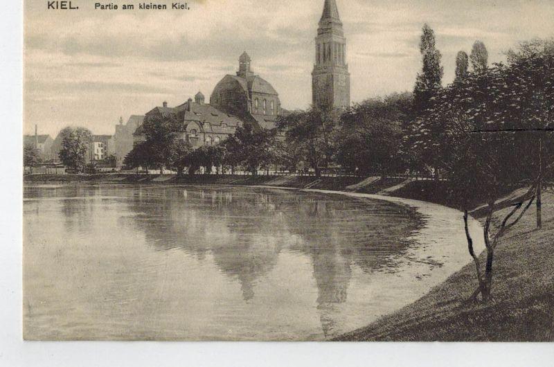 AK Kiel, Partie am kleinen Kiel, 1910-20er Jahre, ungelaufen