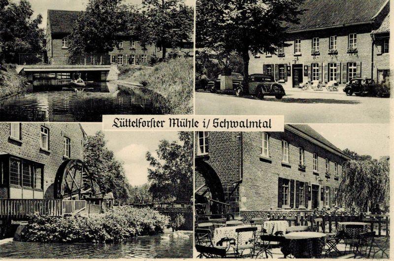 AK Schwalmtal, Lüttelforster Mühle, Gaststätte, Ansichten, 1957 gelaufen mit Marke + Sonderstempel