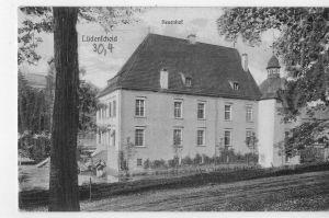 AK Lüdenscheid, Schloß Neuenhof, 1915 gelaufen, ohne Marke, Feldpost, mit Lazarettstempel