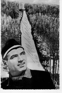 AK Sepp Weiler, Skisprung, Autogrammkarte, Original, Grosschanze am Mühlenkopf, Schanzenrekord 101m, Liftgaststätte, 1960 gelaufen mit Marke und Sonderstempel