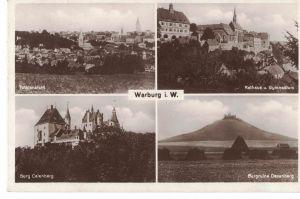 AK Warburg, Westfalen, Rathaus, Gymnasium, Burg Calenberg, Burgruine Desenberg, Ansichten, 1953 gelaufen mit Marken