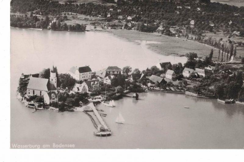 AK Wasserburg, Bodensee, Luftbild, 1950 gelaufen mit Marke + Sonderstempel