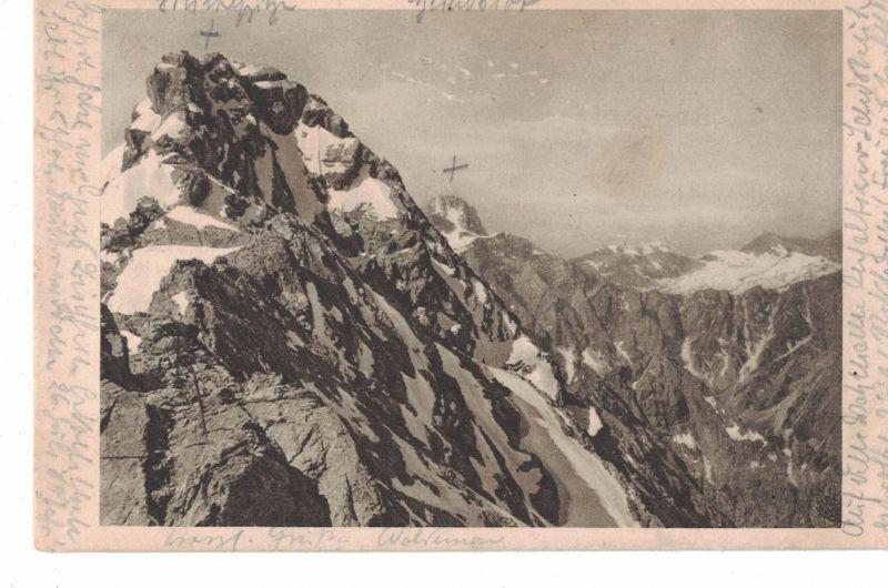AK Watzmann, Mittelspitze, Hundstod, Ramsau, Berchtesgadener Land, Naturaufnahme, 1920 gelaufen ohne Marke