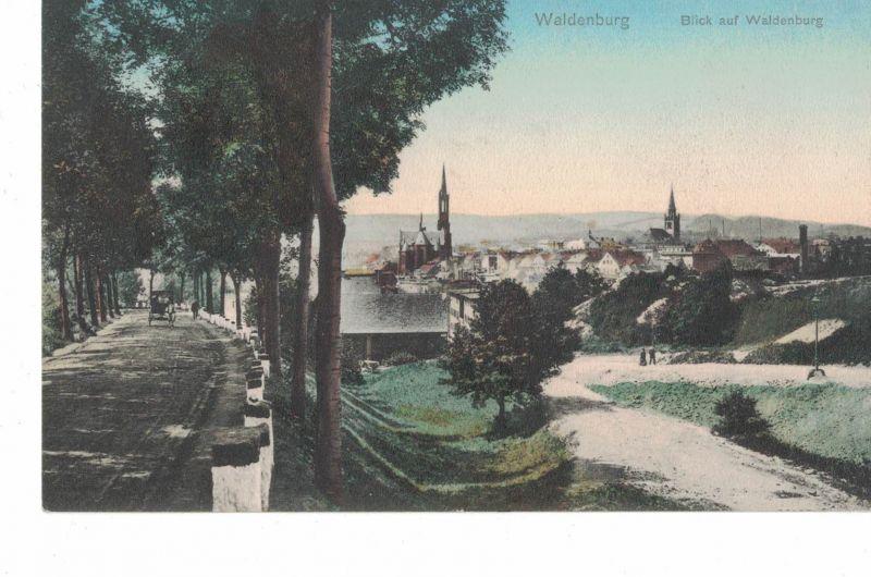 AK Wałbrzych, Waldenburg, Schlesien, Niederschlesien, dolnośląskie, Blick auf die Stadt, 1908 Jahre gelaufen mit Marke