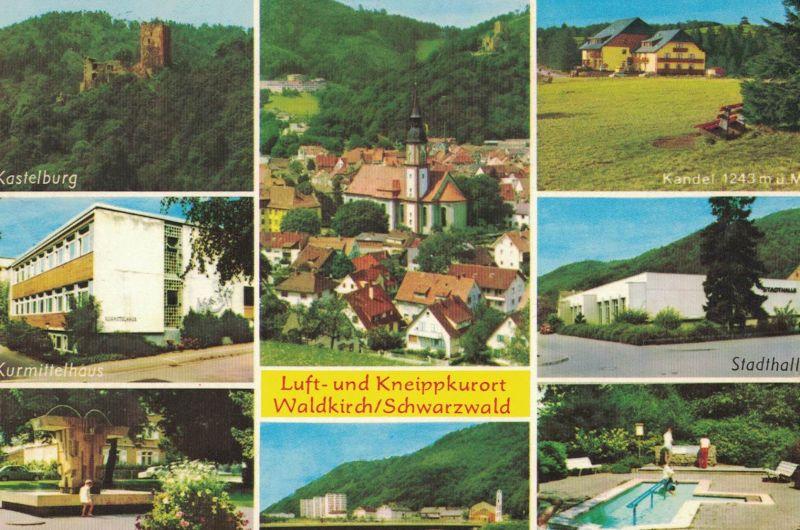 AK Waldkirch, Breisgau, Schwarzwald, Ansichten, Kurmittelhaus, Stadthalle, Kandel, Kneippanlage, St. Carolus Kirche, Europabrunnen, Kastelburg, 1976 gelaufen mit Marke
