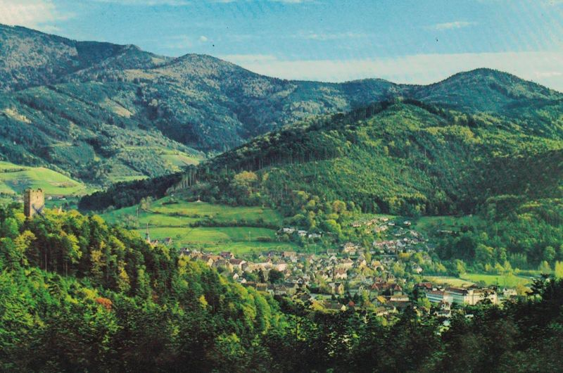 AK Waldkirch, Breisgau, Schwarzwald, Blick zum Kandel, 1969 gelaufen mit Marke