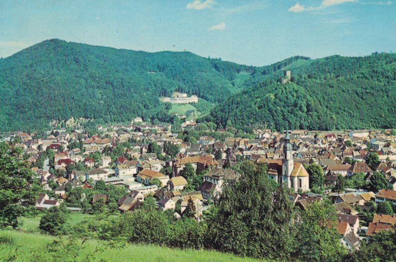 AK Waldkirch, Breisgau, Schwarzwald, Kastelburg, Krankenhaus, ca. 1969 ungelaufen ohne Marke