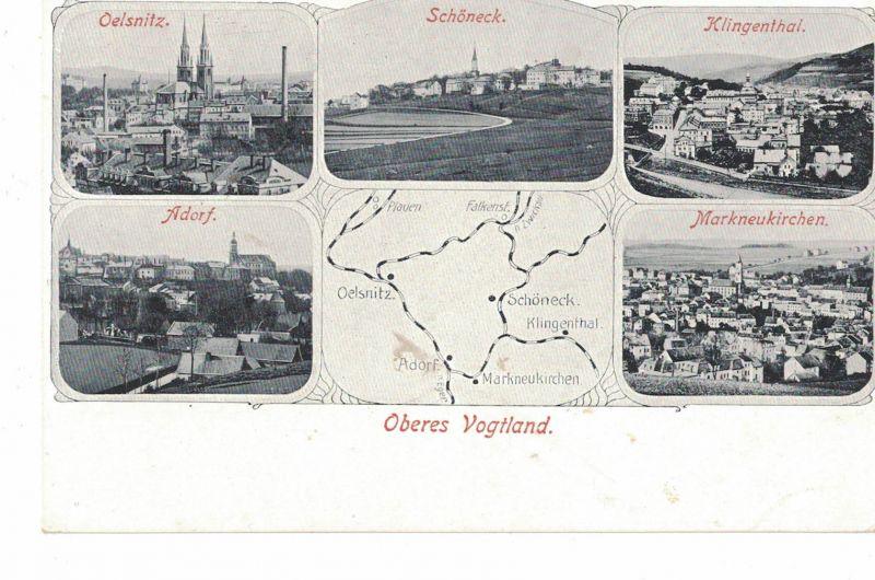 AK Markneukirchen, Oelsnitz, Klingenthal, Schöneck ,Adorf, Oberes Vogtland, ca. 1910-30er Jahre ungelaufen, Rückseite beschriftet ohne Marke