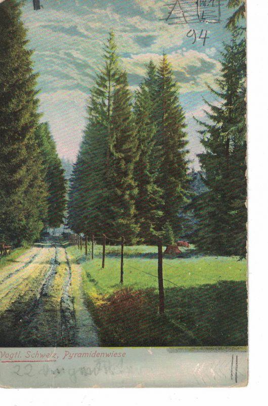 AK Pöhl, Jocketa, Pyramidenwiese, Vogtland, Vogtländische Schweiz, 1916 gelaufen, ohne Marke