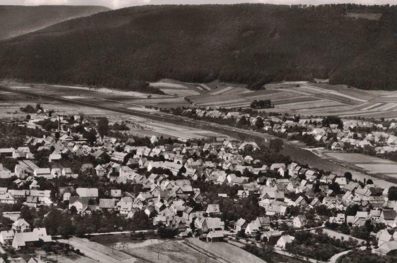 AK Veckernhagen, Reinhardshagen, Blick nach Hemeln, Luftbild, 1953 gelaufen mit Marke + Sonderstempel