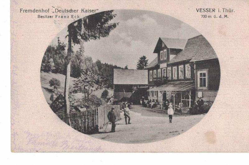 AK Suhl, Vesser, Thüringen, Kreis Schleusingen, bei Schmiedefeld, Fremdenhof Deutscher Kaiser, 1918 gelaufen ohne Marke, Feldpost