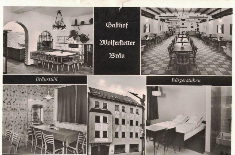 AK Vilshofen, Stadtplatz 7, Gasthof, Wolferstetter Bräu, 1950-60er Jahre gelaufen mit Marke