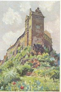 AK Wettin-Löbejün, Wettin, Burg, Winkelturm, Aquarell von Alfred Weßner-Collenbey, ungelaufen, ca. 1930-50er Jahre