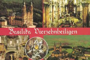 AK Bad Staffelstein, Vierzehnheiligen, Basilika, 1993 gelaufen mit Sondermarke + Sonderstempel