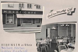 AK Krefeld, Uerdingen, Marktcafé, Marktplatz, 1962 gelaufen mit Marke