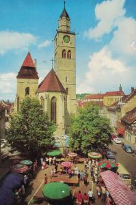 AK Überlingen, Bodensee, St. Nikolaus, Münster, Münsterplatz, 1978 gelaufen mit Marke