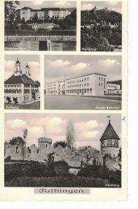 AK Tuttlingen, Neuer Bahnhof, Rathaus, Krankenhaus, Honberg, Ansichten, 1954 gelaufen mit Marke