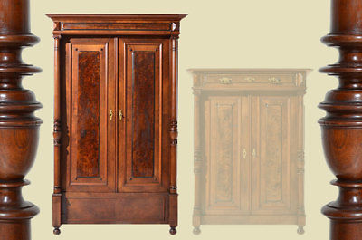 Antiker Gründerzeit Nußbaum Säulen Kleiderschrank Schrank von 1880