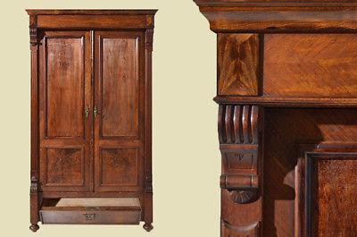 Antiker Gründerzeit Nußbaum Bücherschrank Schrank Schublade von 1880 0