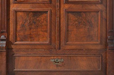 Antiker Gründerzeit Nußbaum Bücherschrank Schrank Schublade von 1880 11