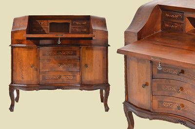 Empire Regency Barock Mahagoni Intarsien Schreibtisch Sekretär 0