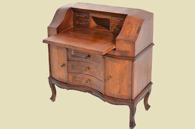 Empire Regency Barock Mahagoni Intarsien Schreibtisch Sekretär 3